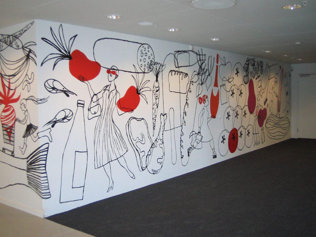 Väggmålning på ICA:s huvudkontor.